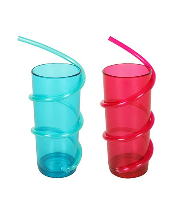 spiral plastic straw drinking cup ld-c113
